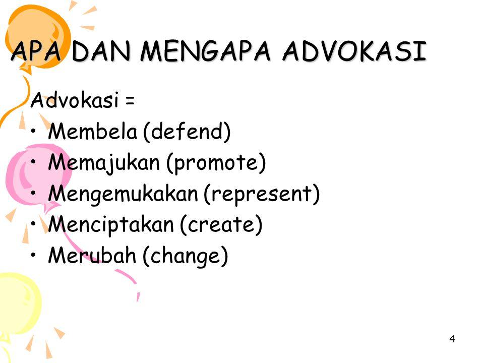 4 APA DAN MENGAPA ADVOKASI Advokasi = Membela (defend) Memajukan (promote) Mengemukakan (represent) Menciptakan (create) Merubah (change)