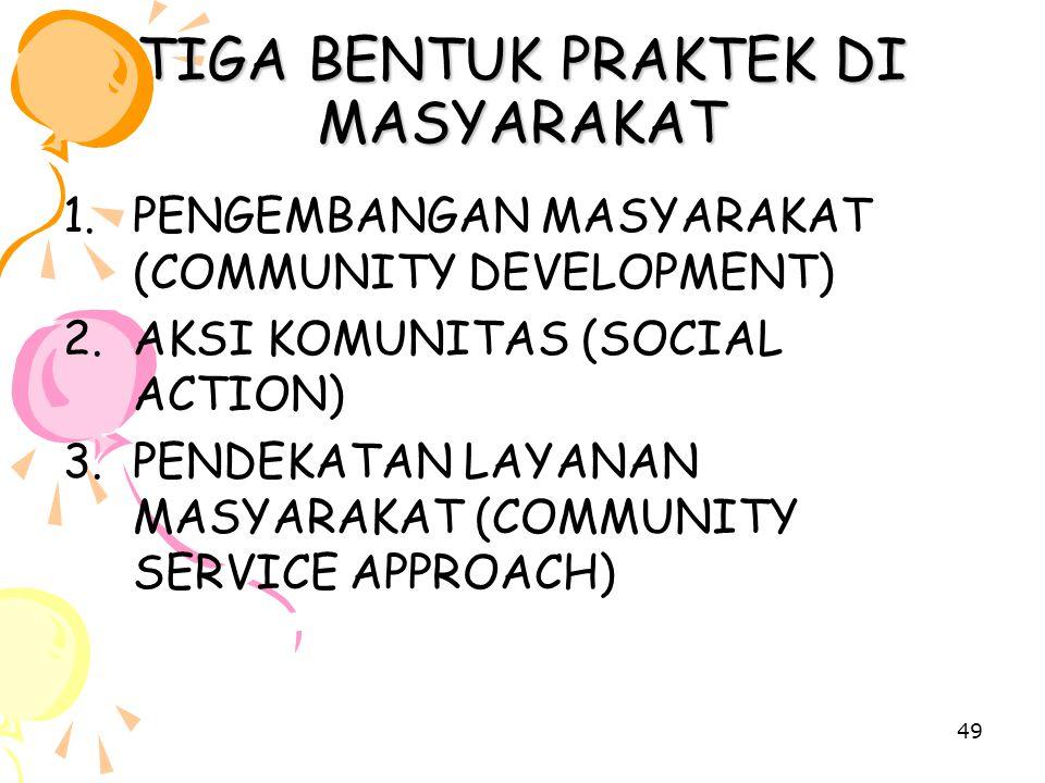 49 TIGA BENTUK PRAKTEK DI MASYARAKAT 1.PENGEMBANGAN MASYARAKAT (COMMUNITY DEVELOPMENT) 2.AKSI KOMUNITAS (SOCIAL ACTION) 3.PENDEKATAN LAYANAN MASYARAKA