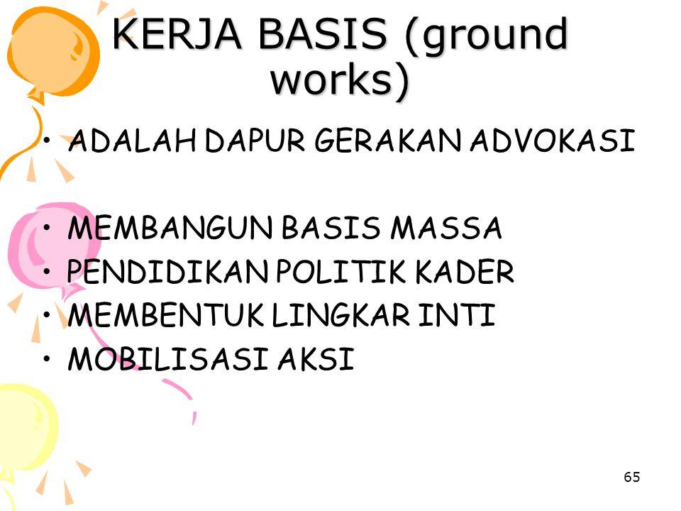65 KERJA BASIS (ground works) ADALAH DAPUR GERAKAN ADVOKASI MEMBANGUN BASIS MASSA PENDIDIKAN POLITIK KADER MEMBENTUK LINGKAR INTI MOBILISASI AKSI