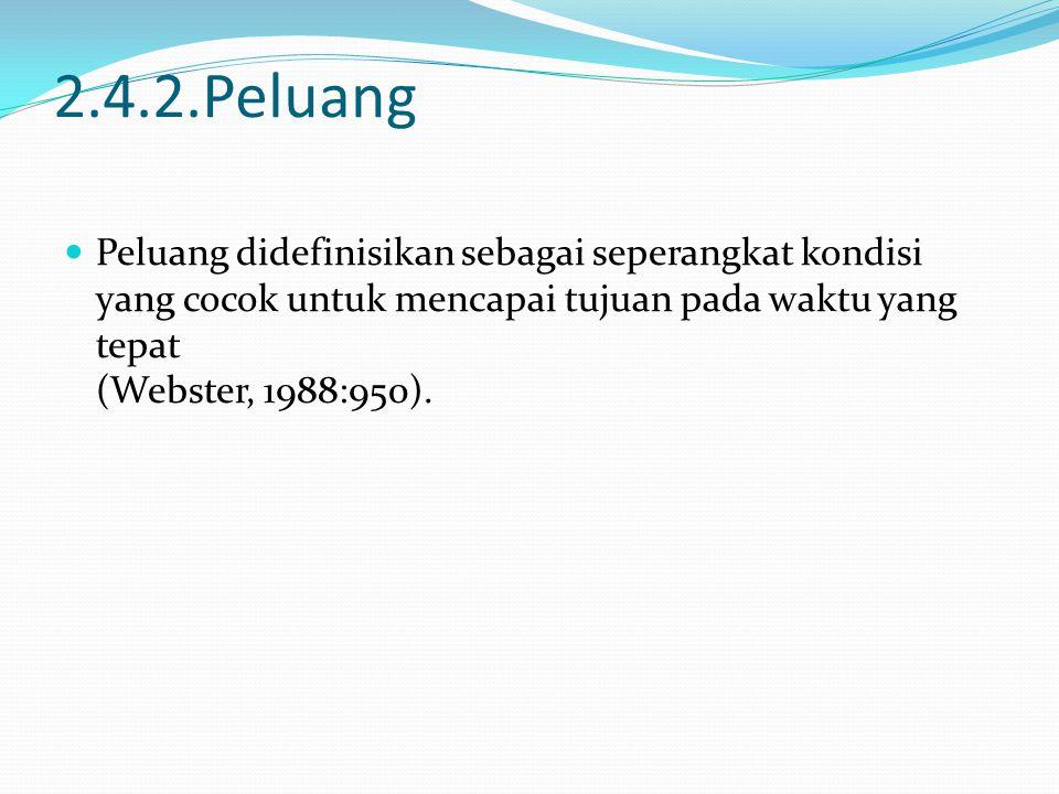 2.4.2.Peluang Peluang didefinisikan sebagai seperangkat kondisi yang cocok untuk mencapai tujuan pada waktu yang tepat (Webster, 1988:950).