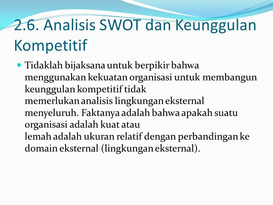 2.6. Analisis SWOT dan Keunggulan Kompetitif Tidaklah bijaksana untuk berpikir bahwa menggunakan kekuatan organisasi untuk membangun keunggulan kompet
