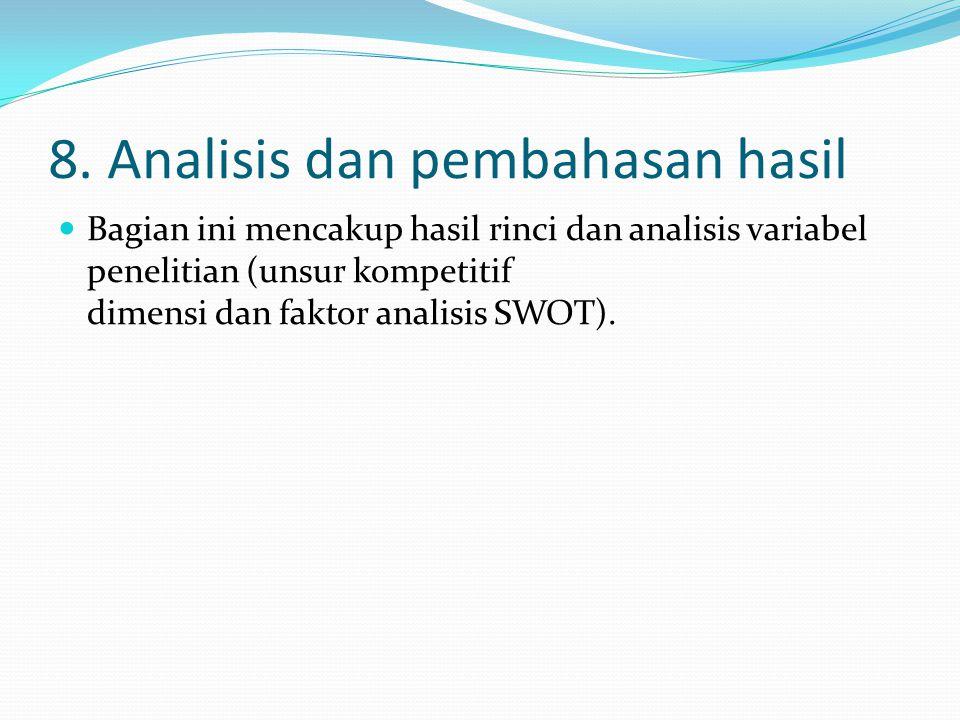 8. Analisis dan pembahasan hasil Bagian ini mencakup hasil rinci dan analisis variabel penelitian (unsur kompetitif dimensi dan faktor analisis SWOT).