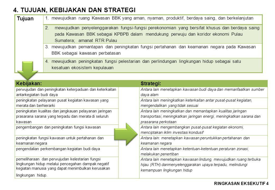 4.TUJUAN, KEBIJAKAN DAN STRATEGI RINGKASAN EKSEKUTIF 4 Tujuan 1.