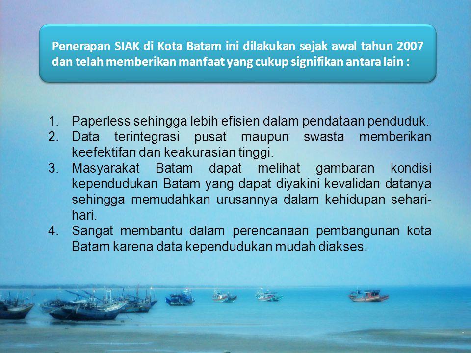 Penerapan SIAK di Kota Batam ini dilakukan sejak awal tahun 2007 dan telah memberikan manfaat yang cukup signifikan antara lain : 1.Paperless sehingga lebih efisien dalam pendataan penduduk.