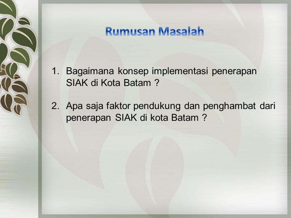 1.Bagaimana konsep implementasi penerapan SIAK di Kota Batam .