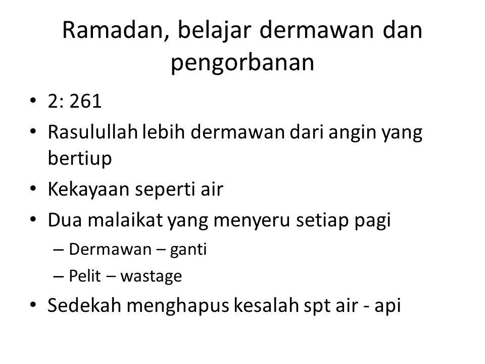 Ramadan, belajar dermawan dan pengorbanan 2: 261 Rasulullah lebih dermawan dari angin yang bertiup Kekayaan seperti air Dua malaikat yang menyeru seti