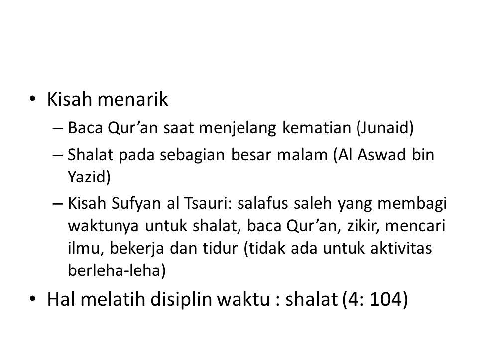Kisah menarik – Baca Qur'an saat menjelang kematian (Junaid) – Shalat pada sebagian besar malam (Al Aswad bin Yazid) – Kisah Sufyan al Tsauri: salafus