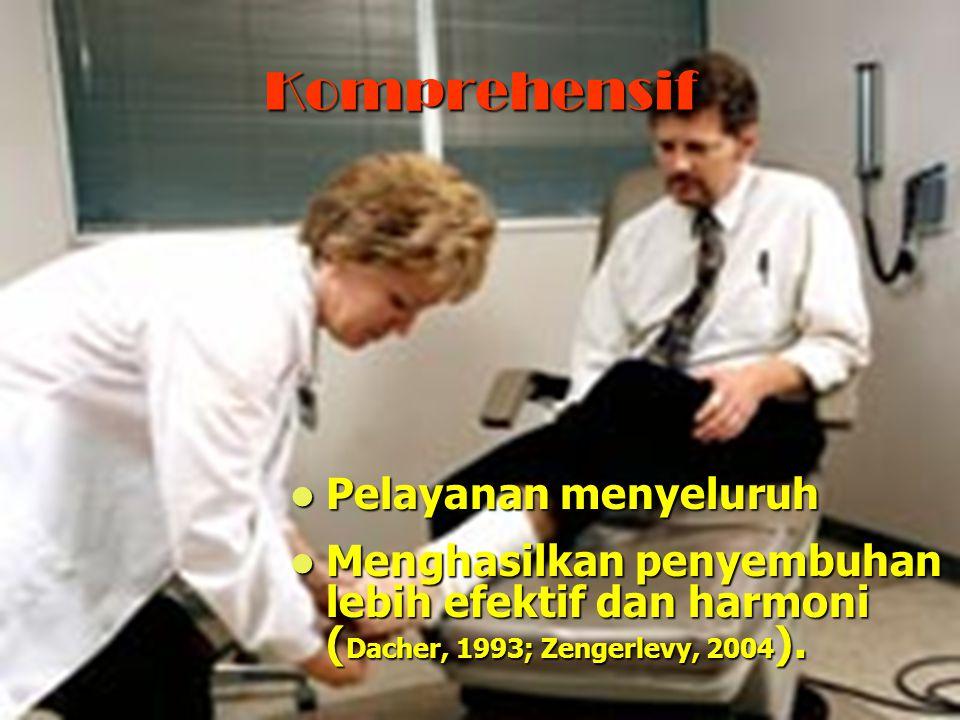 Komprehensif Pelayanan menyeluruh Pelayanan menyeluruh Menghasilkan penyembuhan lebih efektif dan harmoni ( Dacher, 1993; Zengerlevy, 2004 ). Menghasi