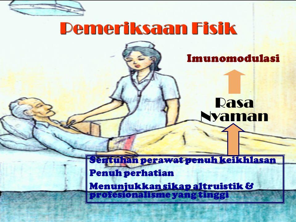 Pemeriksaan Fisik Sentuhan perawat penuh keikhlasan Penuh perhatian Menunjukkan sikap altruistik & profesionalisme yang tinggi Rasa Nyaman Imunomodula