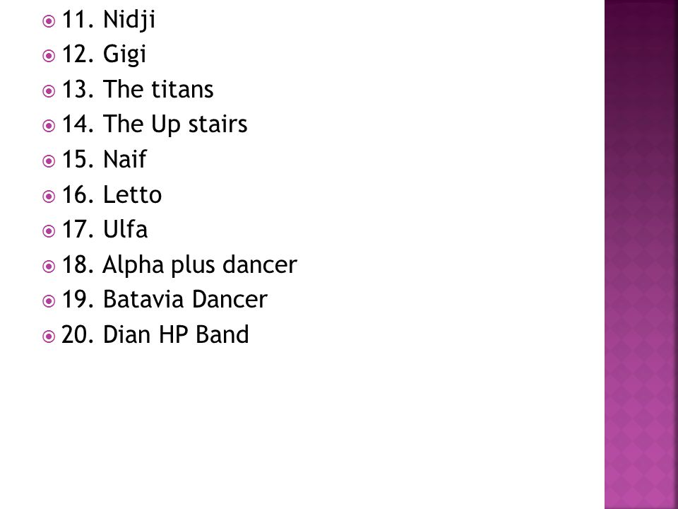  11. Nidji  12. Gigi  13. The titans  14. The Up stairs  15. Naif  16. Letto  17. Ulfa  18. Alpha plus dancer  19. Batavia Dancer  20. Dian