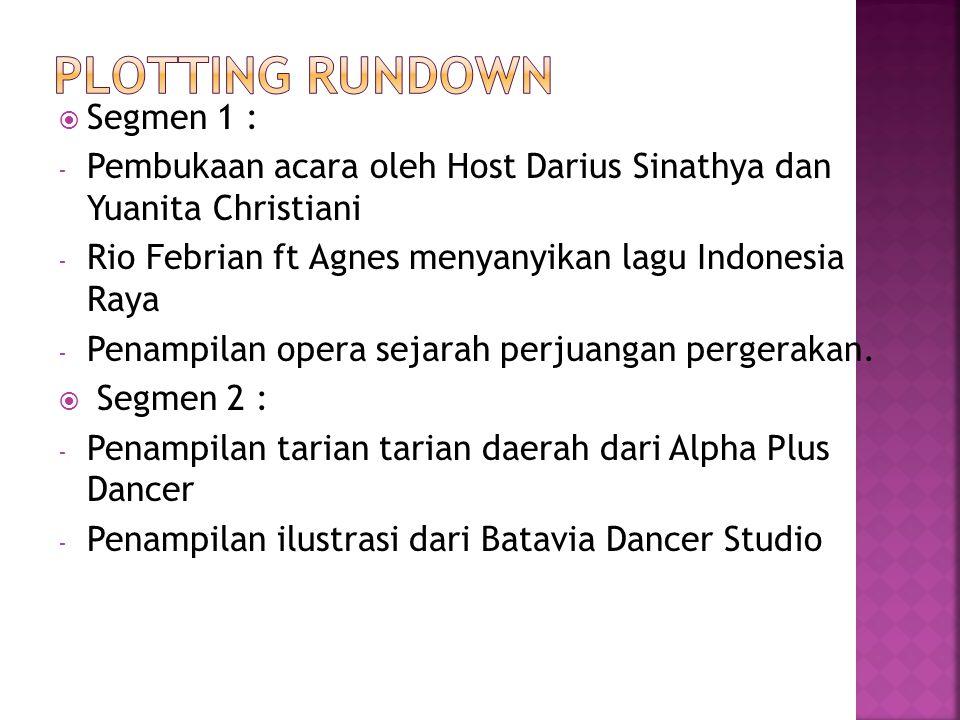  Segmen 1 : - Pembukaan acara oleh Host Darius Sinathya dan Yuanita Christiani - Rio Febrian ft Agnes menyanyikan lagu Indonesia Raya - Penampilan op