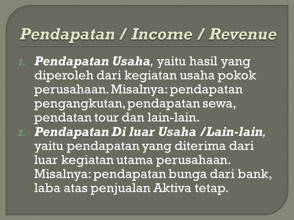 1. Pendapatan Usaha, yaitu hasil yang diperoleh dari kegiatan usaha pokok perusahaan. Misalnya: pendapatan pengangkutan, pendapatan sewa, pendatan tou