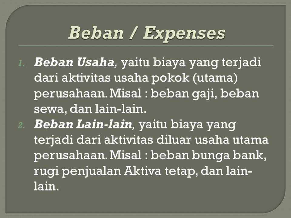1. Beban Usaha, yaitu biaya yang terjadi dari aktivitas usaha pokok (utama) perusahaan. Misal : beban gaji, beban sewa, dan lain-lain. 2. Beban Lain-l