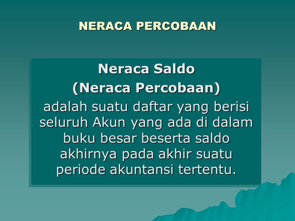 NERACA PERCOBAAN Neraca Saldo (Neraca Percobaan) adalah suatu daftar yang berisi seluruh Akun yang ada di dalam buku besar beserta saldo akhirnya pada