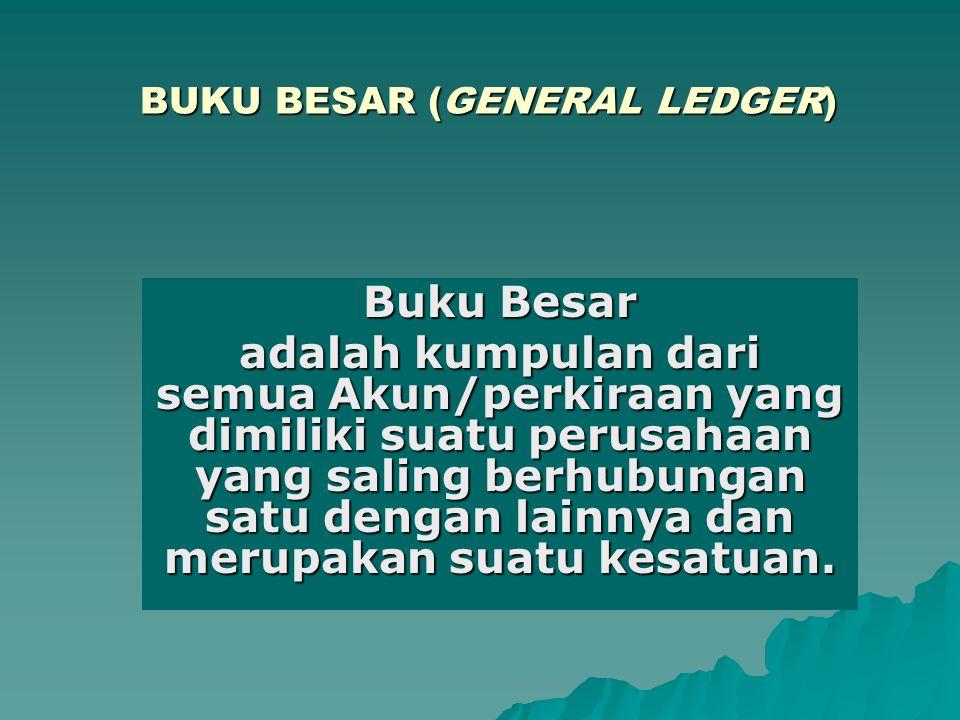 BUKU BESAR (GENERAL LEDGER) Buku Besar adalah kumpulan dari semua Akun/perkiraan yang dimiliki suatu perusahaan yang saling berhubungan satu dengan la