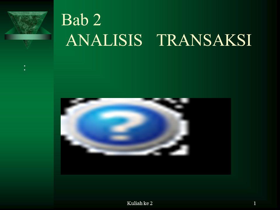 Kuliah ke 21 Bab 2 ANALISIS TRANSAKSI :
