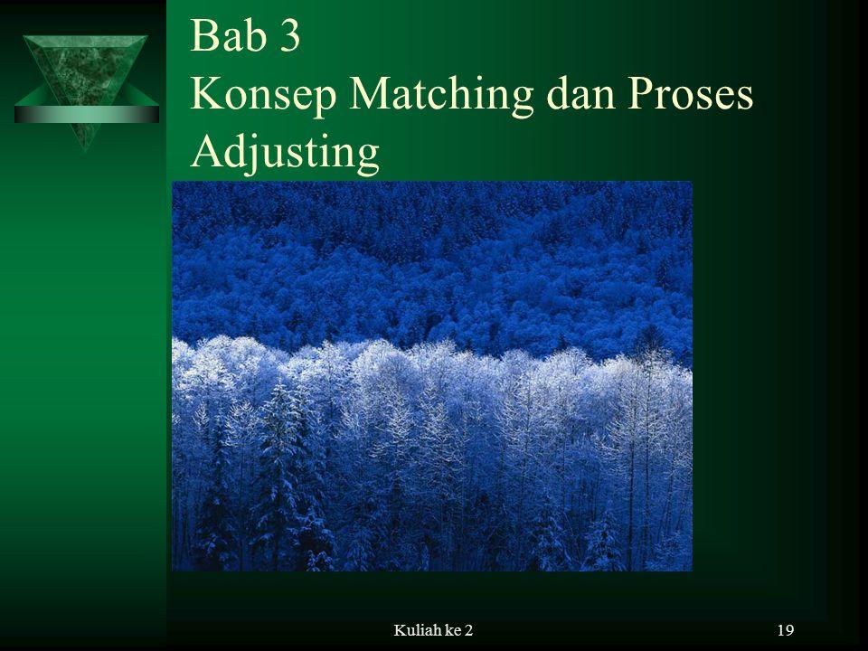 Kuliah ke 219 Bab 3 Konsep Matching dan Proses Adjusting