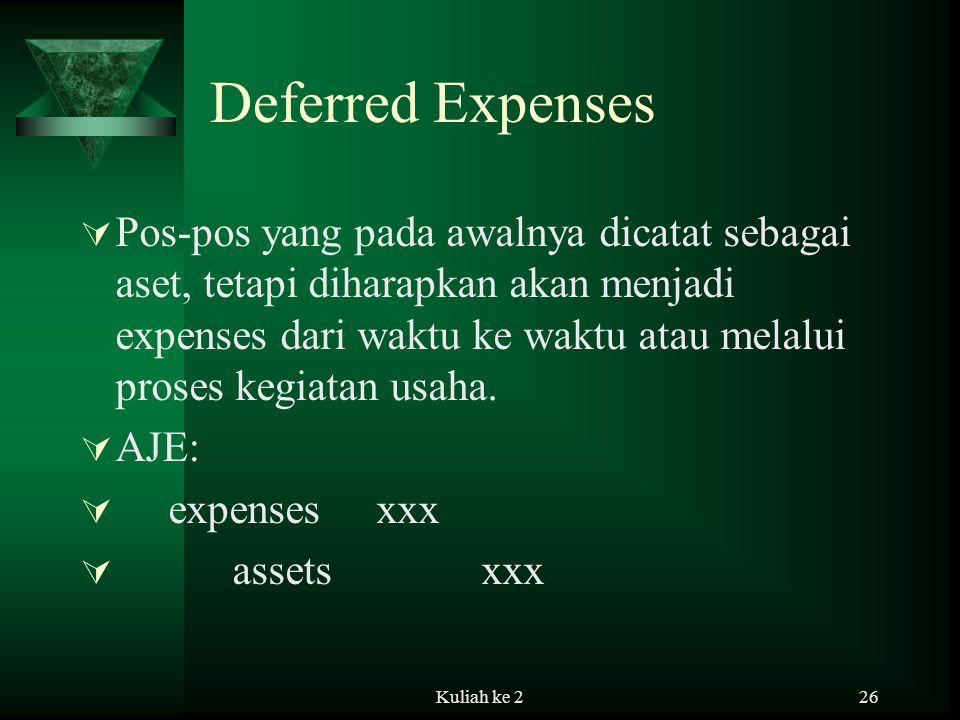 Kuliah ke 226 Deferred Expenses  Pos-pos yang pada awalnya dicatat sebagai aset, tetapi diharapkan akan menjadi expenses dari waktu ke waktu atau melalui proses kegiatan usaha.