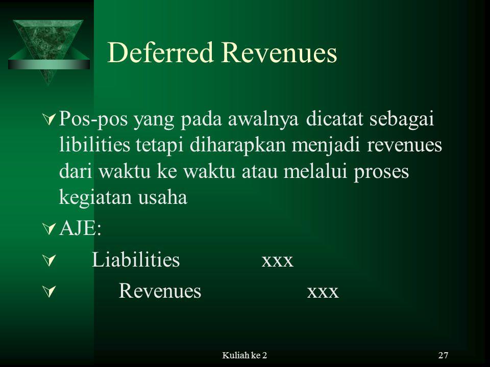 Kuliah ke 227 Deferred Revenues  Pos-pos yang pada awalnya dicatat sebagai libilities tetapi diharapkan menjadi revenues dari waktu ke waktu atau melalui proses kegiatan usaha  AJE:  Liabilities xxx  Revenues xxx