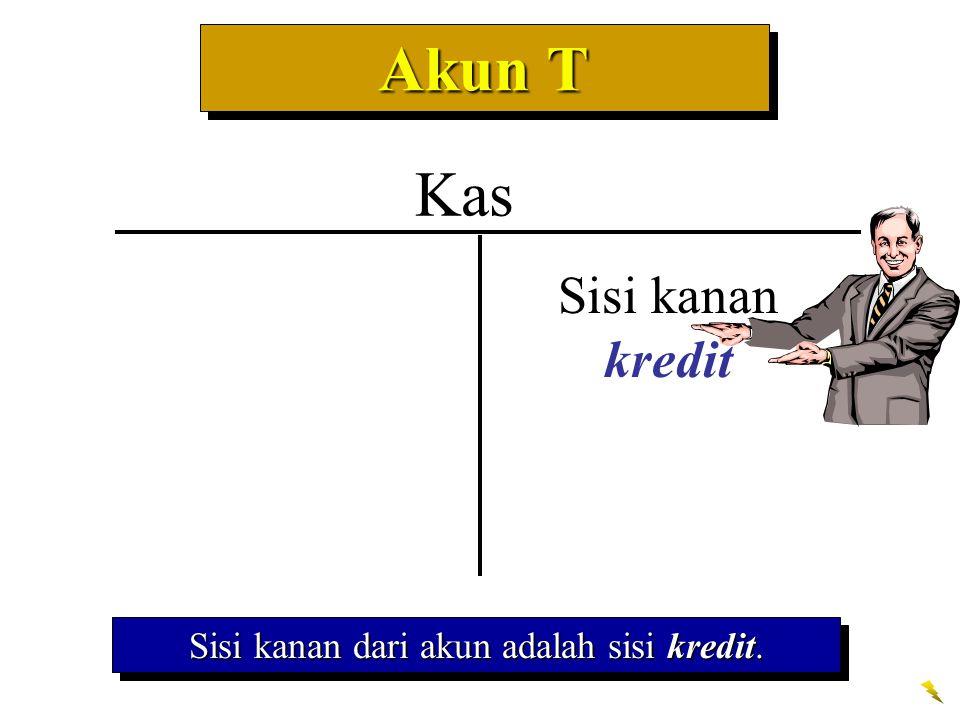 Akun T Sisi kanan dari akun adalah sisi kredit. Kas Sisi kanan kredit