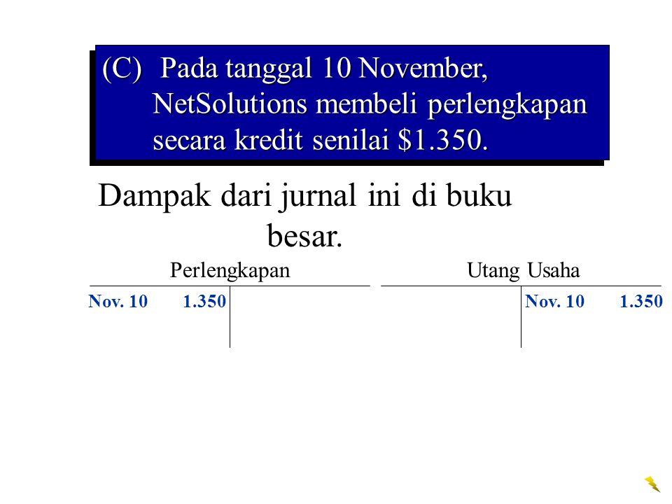 Dampak dari jurnal ini di buku besar. Perlengkapan Nov. 101.350 Utang Usaha Nov. 101.350