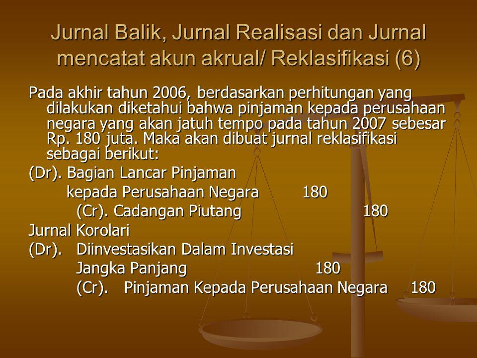 Jurnal Balik, Jurnal Realisasi dan Jurnal mencatat akun akrual/ Reklasifikasi (6) Pada akhir tahun 2006, berdasarkan perhitungan yang dilakukan diketahui bahwa pinjaman kepada perusahaan negara yang akan jatuh tempo pada tahun 2007 sebesar Rp.
