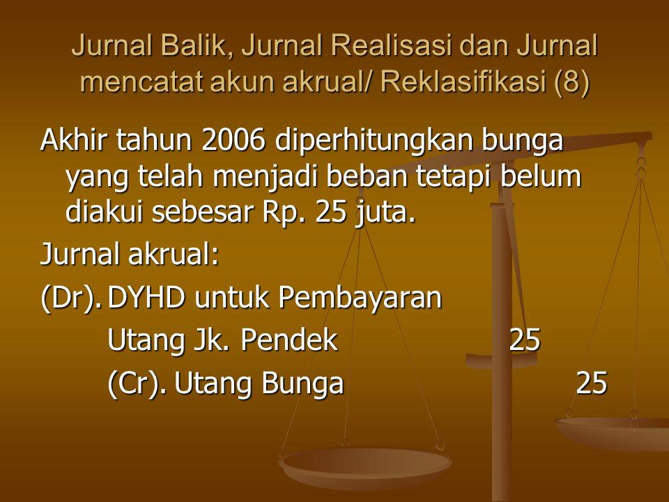 Jurnal Balik, Jurnal Realisasi dan Jurnal mencatat akun akrual/ Reklasifikasi (8) Akhir tahun 2006 diperhitungkan bunga yang telah menjadi beban tetapi belum diakui sebesar Rp.