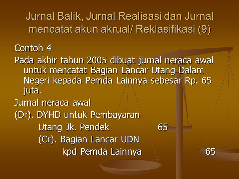 Jurnal Balik, Jurnal Realisasi dan Jurnal mencatat akun akrual/ Reklasifikasi (9) Contoh 4 Pada akhir tahun 2005 dibuat jurnal neraca awal untuk mencatat Bagian Lancar Utang Dalam Negeri kepada Pemda Lainnya sebesar Rp.