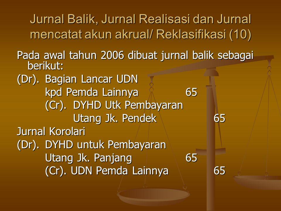 Jurnal Balik, Jurnal Realisasi dan Jurnal mencatat akun akrual/ Reklasifikasi (10) Pada awal tahun 2006 dibuat jurnal balik sebagai berikut: (Dr).Bagian Lancar UDN kpd Pemda Lainnya65 (Cr).DYHD Utk Pembayaran Utang Jk.