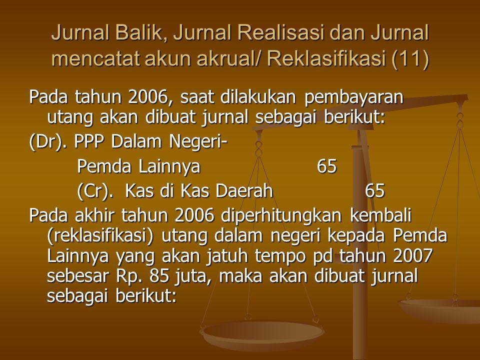 Jurnal Balik, Jurnal Realisasi dan Jurnal mencatat akun akrual/ Reklasifikasi (11) Pada tahun 2006, saat dilakukan pembayaran utang akan dibuat jurnal sebagai berikut: (Dr).