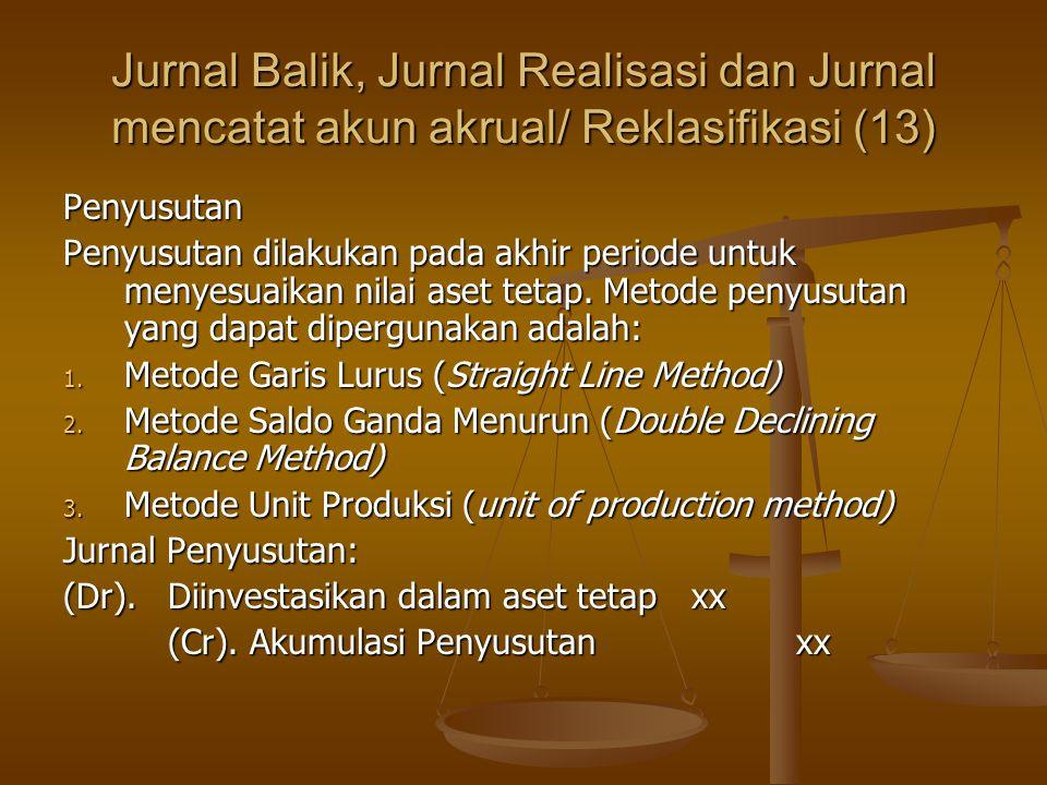 Jurnal Balik, Jurnal Realisasi dan Jurnal mencatat akun akrual/ Reklasifikasi (13) Penyusutan Penyusutan dilakukan pada akhir periode untuk menyesuaikan nilai aset tetap.