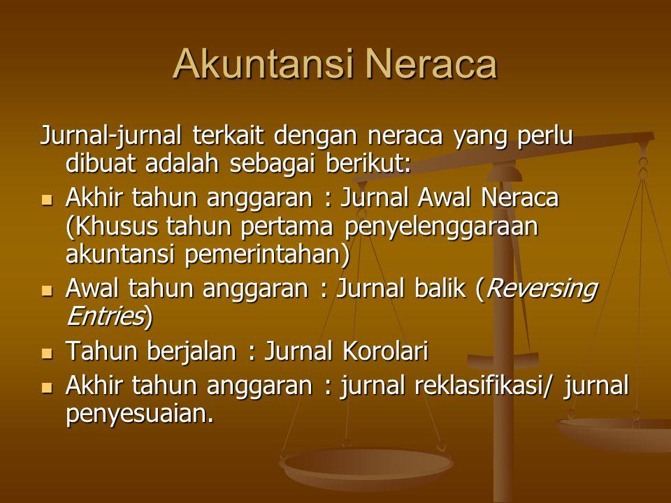 Jurnal-jurnal terkait dengan neraca yang perlu dibuat adalah sebagai berikut: Akhir tahun anggaran : Jurnal Awal Neraca (Khusus tahun pertama penyelen