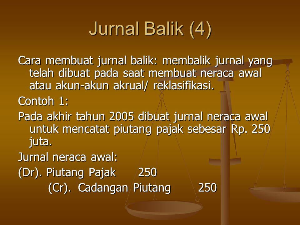 Jurnal Balik (4) Cara membuat jurnal balik: membalik jurnal yang telah dibuat pada saat membuat neraca awal atau akun-akun akrual/ reklasifikasi. Cont