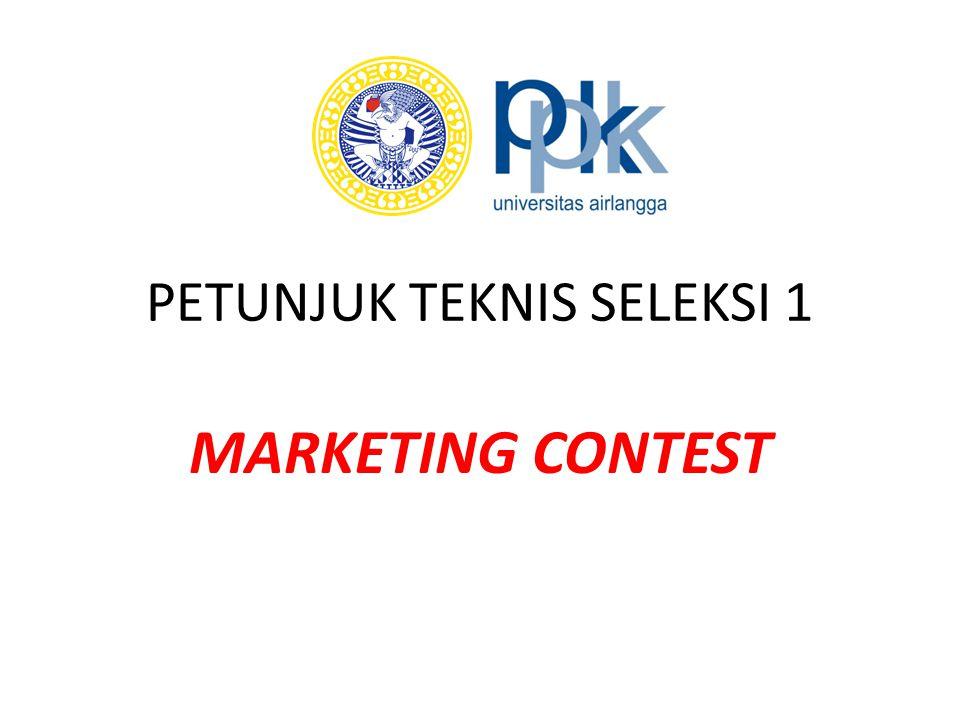 PENDAHULUAN Marketing contest merupakan bentuk seleksi yang diperuntukkan bagi semua peserta PMW 2014 untuk menguji kemampuan memasarkan produk sebagai indikator kemampuan berwirausaha yang dimiliki peserta PMW 2014; Jangka waktu marketing contest dilangsungkan dalam kurun waktu 03 April s/d 16 April 2014