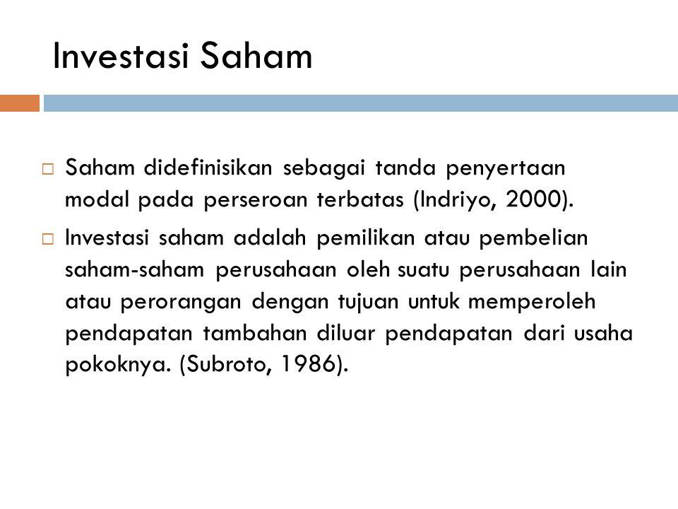 Investasi Saham  Saham didefinisikan sebagai tanda penyertaan modal pada perseroan terbatas (Indriyo, 2000).  Investasi saham adalah pemilikan atau