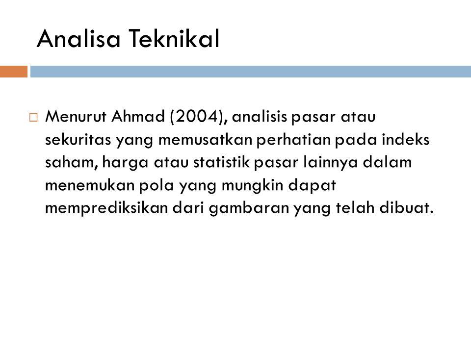 Analisa Teknikal  Menurut Ahmad (2004), analisis pasar atau sekuritas yang memusatkan perhatian pada indeks saham, harga atau statistik pasar lainnya