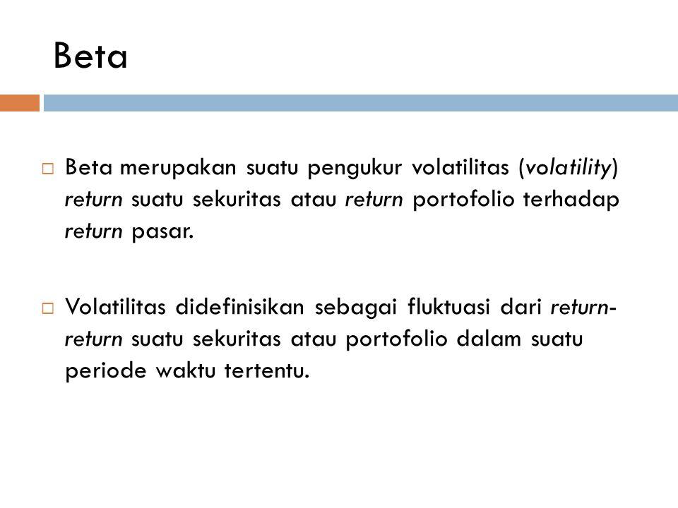Beta  Beta merupakan suatu pengukur volatilitas (volatility) return suatu sekuritas atau return portofolio terhadap return pasar.  Volatilitas didef