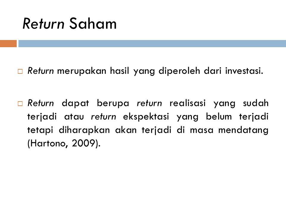 Return Saham  Return merupakan hasil yang diperoleh dari investasi.  Return dapat berupa return realisasi yang sudah terjadi atau return ekspektasi