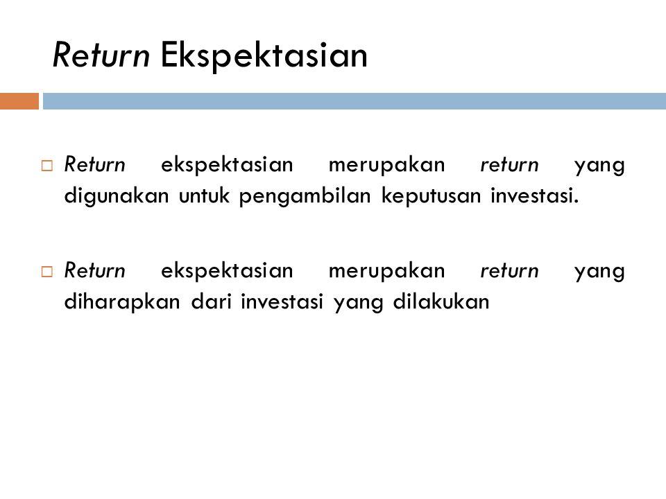 Return Ekspektasian  Return ekspektasian merupakan return yang digunakan untuk pengambilan keputusan investasi.  Return ekspektasian merupakan retur