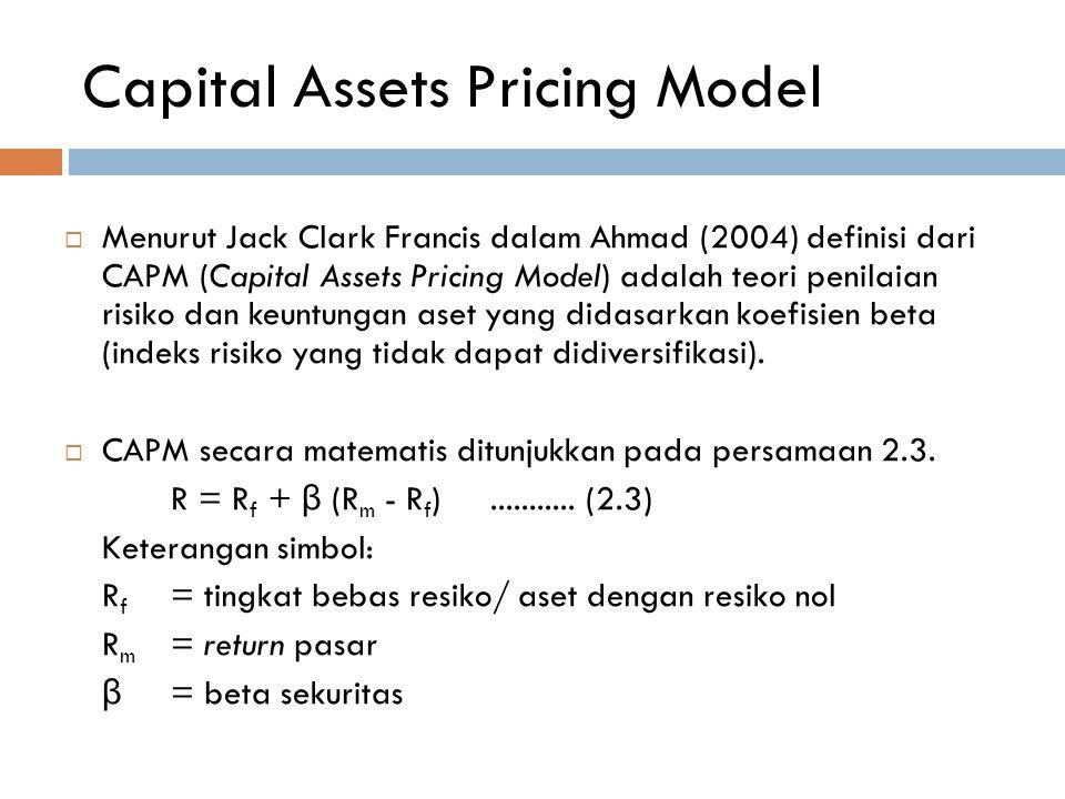 Capital Assets Pricing Model  Menurut Jack Clark Francis dalam Ahmad (2004) definisi dari CAPM (Capital Assets Pricing Model) adalah teori penilaian
