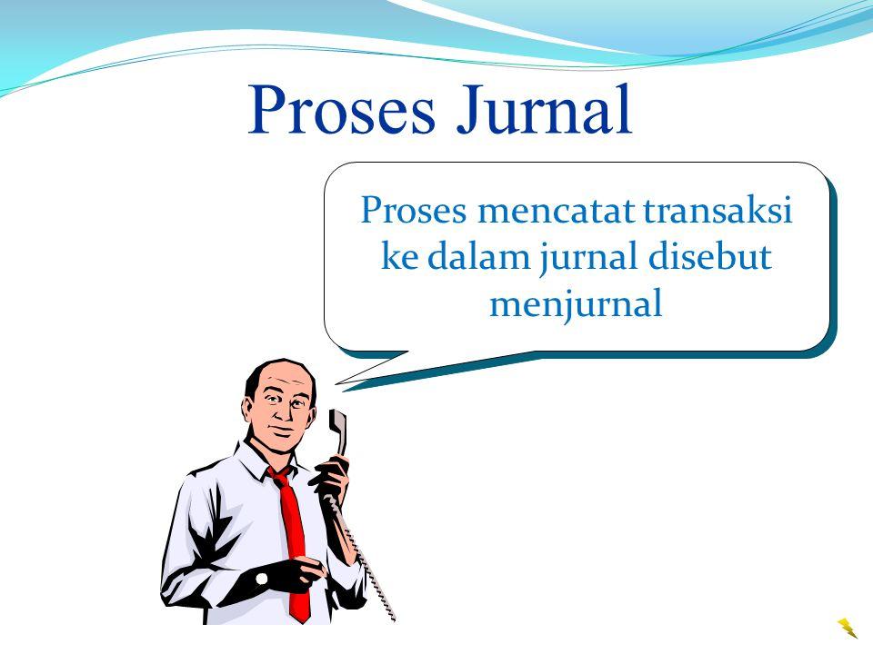 Proses Jurnal Proses mencatat transaksi ke dalam jurnal disebut menjurnal