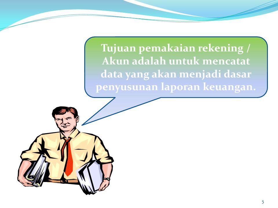 5 Tujuan pemakaian rekening / Akun adalah untuk mencatat data yang akan menjadi dasar penyusunan laporan keuangan.