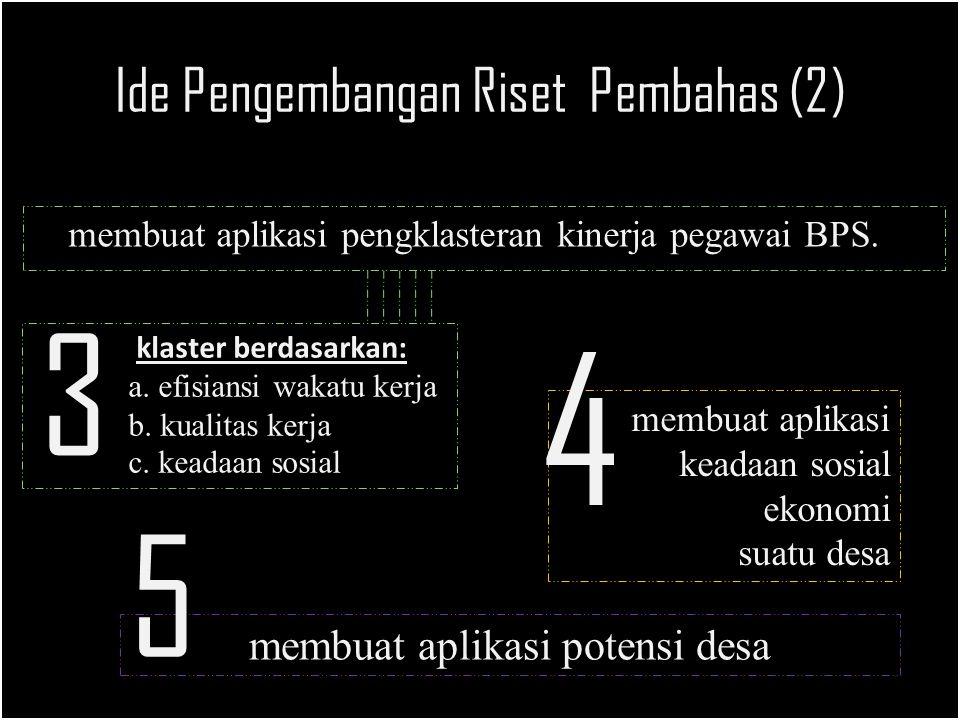 Ide Pengembangan Riset Pembahas (2) membuat aplikasi pengklasteran kinerja pegawai BPS.