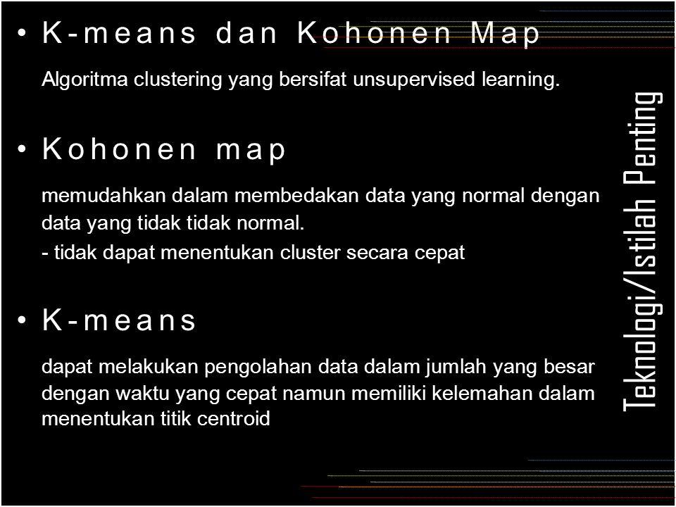 Teknologi/Istilah Penting K-means dan Kohonen Map Algoritma clustering yang bersifat unsupervised learning.
