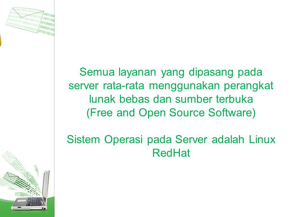 Semua layanan yang dipasang pada server rata-rata menggunakan perangkat lunak bebas dan sumber terbuka (Free and Open Source Software) Sistem Operasi pada Server adalah Linux RedHat