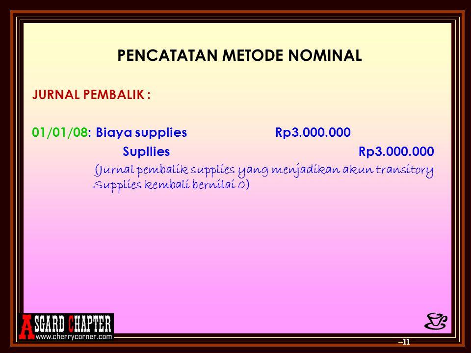 PENCATATAN METODE NOMINAL JURNAL PEMBALIK : 01/01/08: Biaya supplies Rp3.000.000 SuplliesRp3.000.000 (Jurnal pembalik supplies yang menjadikan akun tr