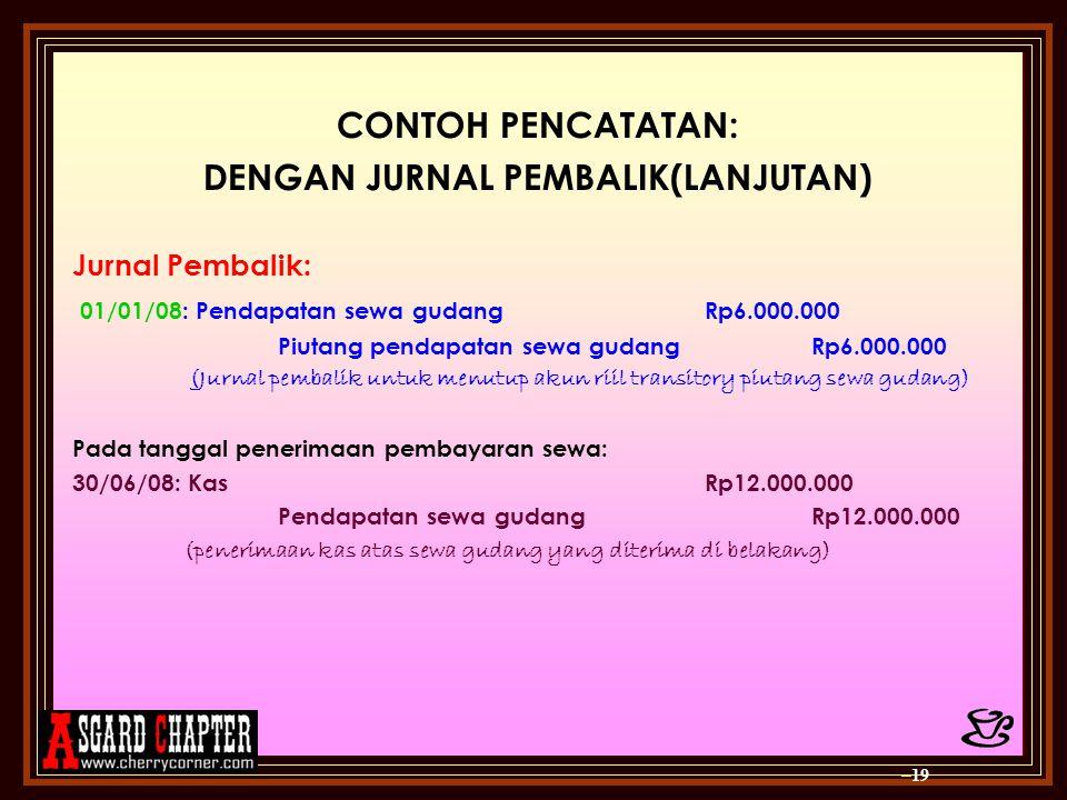 CONTOH PENCATATAN: DENGAN JURNAL PEMBALIK(LANJUTAN) Jurnal Pembalik: 0 1/01/08: Pendapatan sewa gudangRp6.000.000 Piutang pendapatan sewa gudangRp6.00