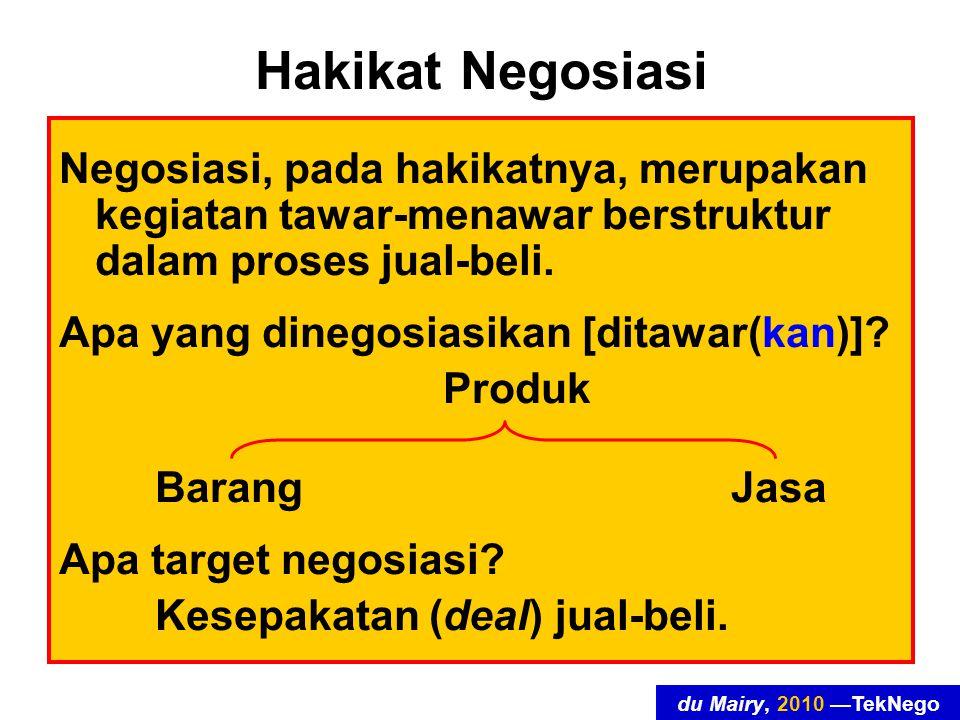 du Mairy, 2010 —TekNego Hakikat Negosiasi Negosiasi, pada hakikatnya, merupakan kegiatan tawar-menawar berstruktur dalam proses jual-beli.