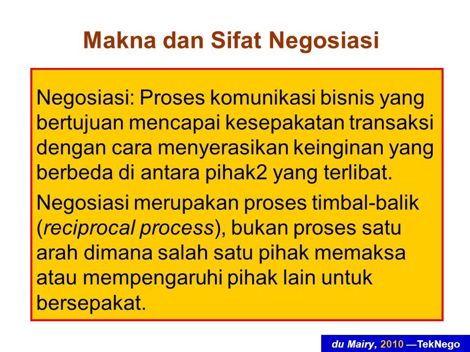 du Mairy, 2010 —TekNego Makna dan Sifat Negosiasi Negosiasi: Proses komunikasi bisnis yang bertujuan mencapai kesepakatan transaksi dengan cara menyerasikan keinginan yang berbeda di antara pihak2 yang terlibat.