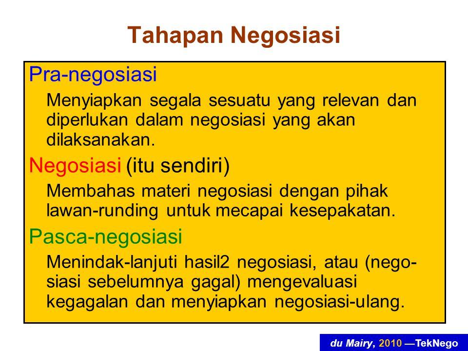 du Mairy, 2010 —TekNego Tahapan Negosiasi Pra-negosiasi Menyiapkan segala sesuatu yang relevan dan diperlukan dalam negosiasi yang akan dilaksanakan.